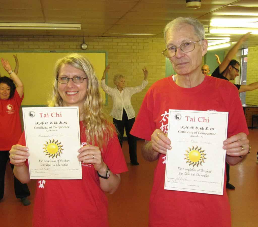 Happy students receive certificate